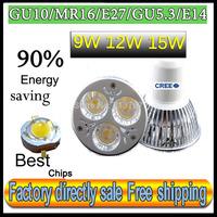 Factory directly sale10pcs/lot CREE Bulb led bulb GU10 9w 12W 15W 110V 220V Dimmable led Light led lamps spotlight free shipping