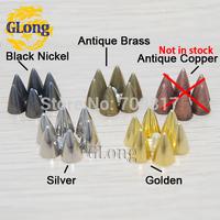7*10mm Screwback Spikes Golden Metal Bullet Punk Leathercraft Accessories DIY Rivet studs Free Shipping 20pcs #GZ025-10G+B4G