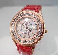 Wholesale women wristwatches ladies rhinestone fashion leather strap quartz watch women watches w385
