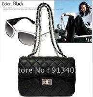 high quality Promotion 2013 new fashion ladies' Clutch Shoulder black Bags chain print flower cross women handbags fast shipping