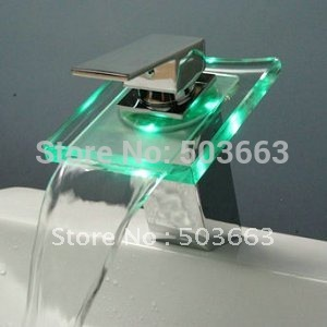 Big Waterfall  LED Colorful Light Faucet Battery Polished Chrome Mixer Brass Tap CQ0812