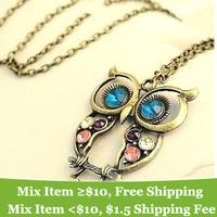 Comanda minima este de 10 $ (pentru a amesteca) Moda minunat de epocă colorat drăguț OWL colier Freeshipping -! SHOP CRYSTAL