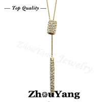 ZYM011 Hot Sweater Chain 18K Rose Gold Plated Pendant Necklace Jewelry Austrian Crystal  Wholesale