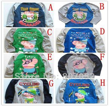 Free Shipping  George peppa pig kids long sleeve tops girls tops t-shirts peppa's picnic 100% cotton --10pcs/lot GP18