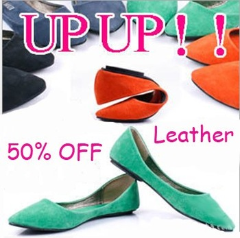 Genuine leather upper women fashion flat ballet shoe.Free shipping