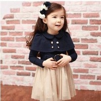Free shipping Child autumn  Dress Girl long-sleeve lace patchwork one-piece dress