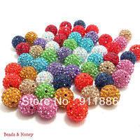 Wholesale Cheap 200Pcs/Lot 10mm Shamballa Crystal Clay Beads For Braid String Shambhala Jewelry Making,Mix Colour,Free Shipping