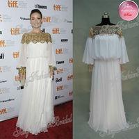 Olivia Wilde Bateau Neck Long Sleeves Natural Waist Full Length Chiffon Red Carpet Real Celebrity Dresses 2013