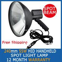 "55W 9"" inch 240mm Handheld HID Xenon Spotlight Handheld Driving Lights Hunting Search Boat Fishing Lamp FREE SHIPPING"