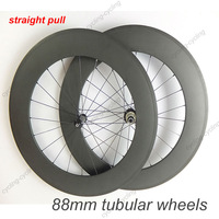 FREE SHIPPING Straight Pull 88mm tubular carbon straight pull bike wheels road cycling wheelset
