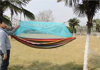 2015 high-quality outdoor indoor recreational sports swing with mosquito sunscreen sticks Double canvas hammock