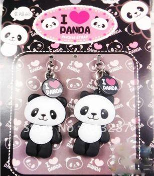 Free Shipping Kawaii Smiley Panda Couple Squishy Charm/Mobile Pendant/Mobile Phone Chain Retail