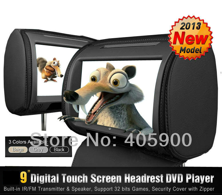 NEW Zipper Cover 9 inch HD Touch Screen Car Headrest DVD Player with 32Bit Game+USB+SD+IR/FM transmitter, IR headphones(China (Mainland))