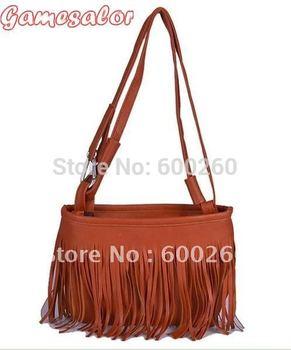 Free shipping Fashion Fringe Tassel Hand Style Women lady Satchel Bag Shoulder Messenger Bag