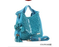 2013 New fashion Retro Totes  genuine stone bag cow leather handbag ladies Leisure messenger bag  woman shoulder bag