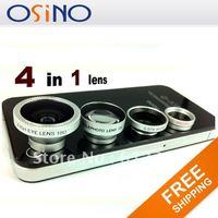 osino fish eye lens NEW 4 in 1 Wide + Macro + 180  Fish + 2X Eye Lens Kit Set  for iPhone 4 4S iPad 2 iPod free shipping