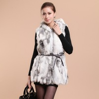 New real rabbit fur vest with hood waistcoat coat jacket ladies' garment Long version 10 colors shipping free