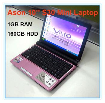 Free shipping 10'' Intel Atom D2500 mini Laptop 1GB RAM 160GB HDD1.86GHZ wifi/external 3G network,windows 7 OS
