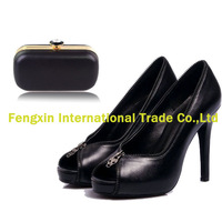 Genuine leather women shoes and bag set black