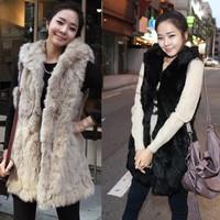 2013 autumn winter women fashion imitation rabbit fur with a hooded fur vest coat long vest Black/Apricot B26 7668