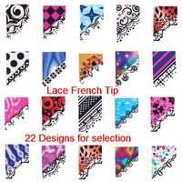 22 Styles Water Slide Nail Art Decals Transfers Leopard Lace French Tip Free Shipping