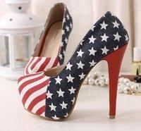 Ladies Sexy High Heel Shoes Platform Women Pumps With US Flag Denim Upper Size 35-40 Wholesale FD999-22NF