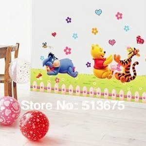 50*70cm Free shipping 1pc Children's room bedroom bed nursery cartoon decoration wall sticker wallpaper