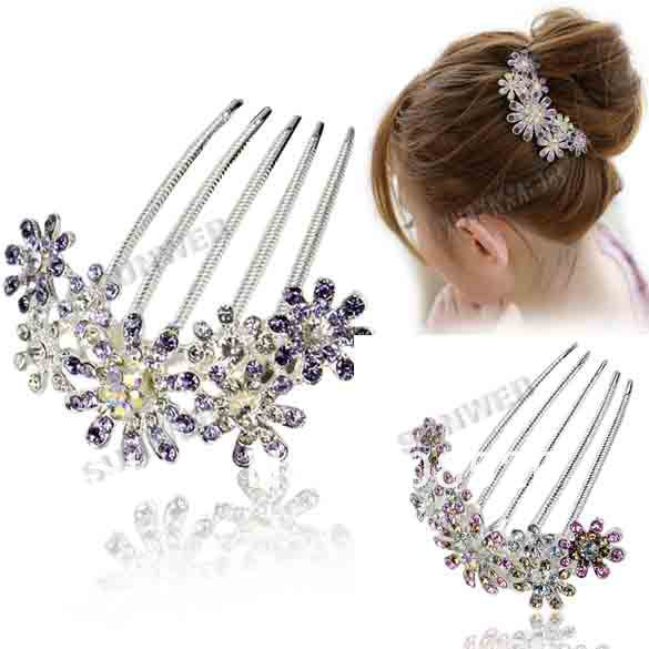 Fashion Women's Elegant Multiple Flower Pattern Rhinestone Tuck Comb Hair Pin Hair Clip free shipping 7713(China (Mainland))