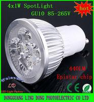 10PCS LED spotlight 4W GU10 LED Bulb Lamp light Warm / Cool White 4x1W led spot light 85-265V 440LM (more than 4Lot is Wholesale