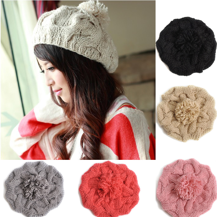New 2013 Korean Women Winter Hats Girls' Warm Wool Twist Knitted Hat Fashion Beanies For Woman Flowers Cap Accessories Hot Sale(China (Mainland))