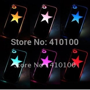 Free shipping LED Star 10PCS/lot Colorful Stars Change logo Sense Flash LED light Cover Case for Apple iPhone 4 4S 4G Styles