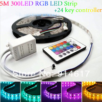 5M Waterproof SMD RGB 5050 LED Strip 300LED Flexible Strip light + 24 key IR remote