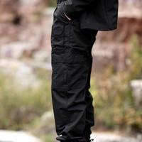 Combat Training pants Men's Army Grid Pants Poly-Cotton Ripstop Teflon Waterproof  Black