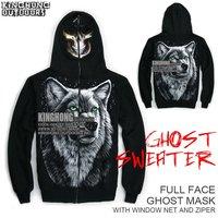 Rock Fashions! Ghost Sweatshirt Carnival Halloween Scary Costume 3D Skull pattern hooded sweater Full face mask hoodie