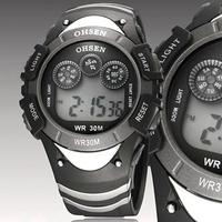 Ohsen brand Sport watch Wristwatch children boys multi-functional rubber band digital fashion dive black watches for gift