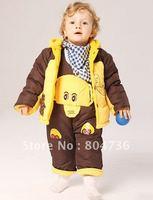 Children / Baby winter suit +pant Elephant clothing boy fur clothing suit winter clothing set kids suit 2-4years