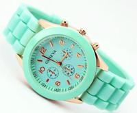 Holiday Sale 11 colors high quality Geneva Brand Silicone watch women ladies fashion dress quartz wrist Watch BT039