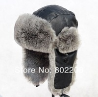 100% sheep leather and high-copy rabbit fur russian hat warm men cap with free shipping