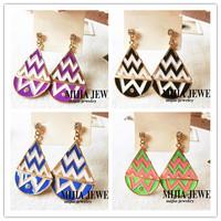 Minimum Order $20 (mixed order)   elegant color block geometric graphic pattern earrings