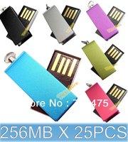 Bulk sell 25pcs  USB Memory Flash Drive 256MB Mini USB2.0 Flash Pendrive shipping 6 Colors for Choices