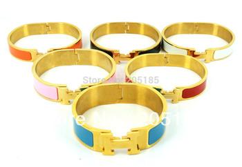 Women Metal H Bangle Gold/Silver Enamel Wristband Fashion Cuff Letter Clic Clac Multicolor Lady Classic Bangle