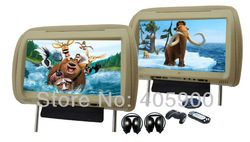 "2012 NEW 2x9"" HD Car headrest DVD player with 32bit Games+SD+USB+IR/FM transmitter, 2 IR headphone(China (Mainland))"