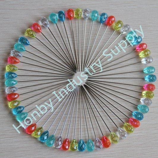 DHL/TNT free shipping, 200 pcs/box, 70mm rhinestone shaped multcolor decorative head pin(China (Mainland))