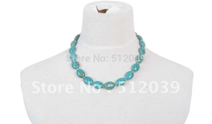 Valentine's day BIG PROMOTION !! natural turquoise calaite kallaite smooth Cabochon Rammel Necklace CLOVER1420D/(China (Mainland))