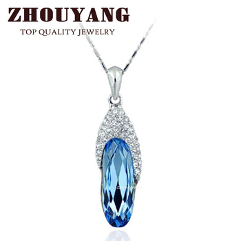 ZYN066 Blue Gem Shoes Necklace 18K Platinum Plated Fashion Jewellery Nickel Free Pendant Crystal