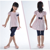 Free Shipping New Pretty Style Children Summer Fashion Sets for Girls Dot Clothing   Suit with Bow Design K0527