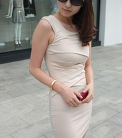 Free shipping 2013 New arrivals sleeveless pencil one piece dress sexy and elegant dress office wear dress