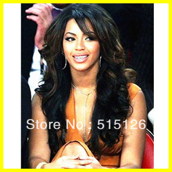 "Indian Human Hair Lace Front Wigs With Bangs Free shipping 22"" Beyonce Style Wavy For Black Women #1b Color Glueless Lace Wig"