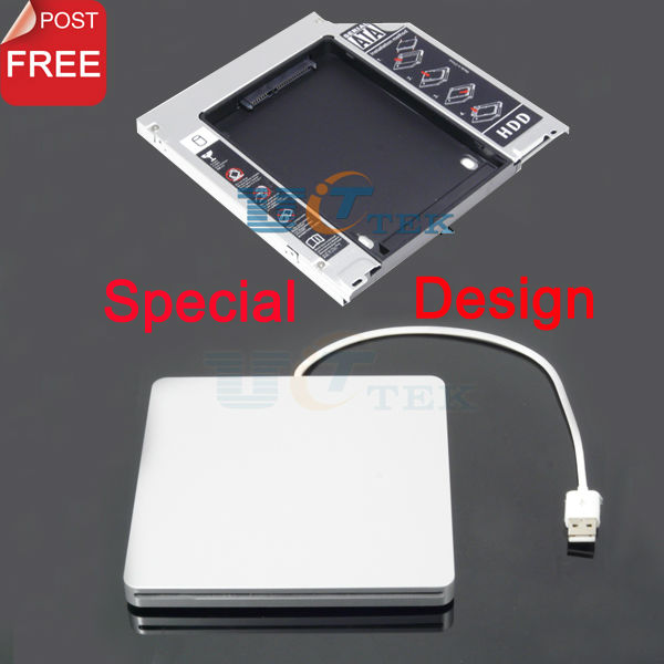 9.5mm SATA 2nd HDD SSD Hard Drive Caddy Adapter For MacBook Pro Unibody + External USB Enclosure Case Superdrive Singapore Post(China (Mainland))