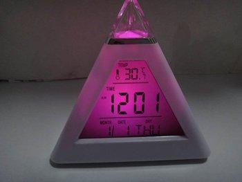 Change  Digital Triangle Pyramid Alarm Clock ABS desk clock music Digital LED Clock smalldatetime